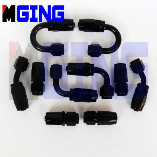 6 Swivel Oil Fuel Line Hose End Fittings KIT Adapter 10P Black 6AN AN6 AN