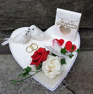 Geldgeschenk Hochzeit Herz Weiss Rot Tauben Eheringe