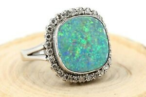 Gold-Ring-585-Opal-Diamant-14K-Weissgold-Gr-56-28-Achtkant-ca-0-56ct-VS1-I