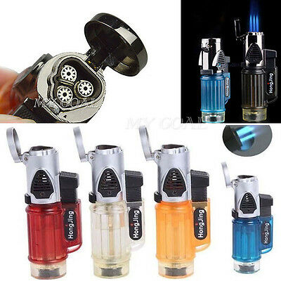 Triple Jet Windproof Torch Flame Refillable Butane Gas Cigarette Cigar Lighter