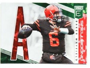 "Baker Mayfield 2019 Panini Donruss Elite Football Spellbound Green ""A"" #SP-13"