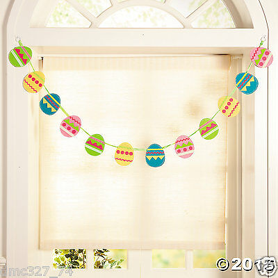 EASTER Spring Party Hanging Decoration Felt EASTER EGG GARLAND 4 ft long