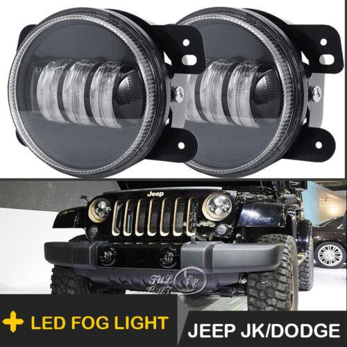 """2PCs 4/"""" 60W CREE LED Fog Light 6500k White Lights for Jeep Wrangler JK 2007-2018"""