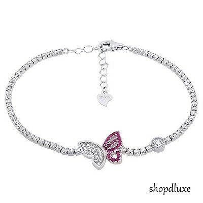 WOMEN'S ROUND CUT PINK & CLEAR CZ .925 STERLING SILVER BUTTERFLY TENNIS BRACELET