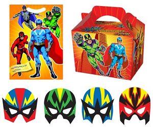 Super-heros-fete-d-039-anniversaire-set-boite-de-nourriture-loot-sac-dress-up-masque
