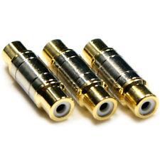 3 RCA/Phono Coupler/Joiner -AV Component-Female To Socket Adapter Gender Changer