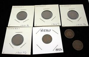 1889-1912-Lot-of-7-Germany-Coins-Copper-Fine-Condition