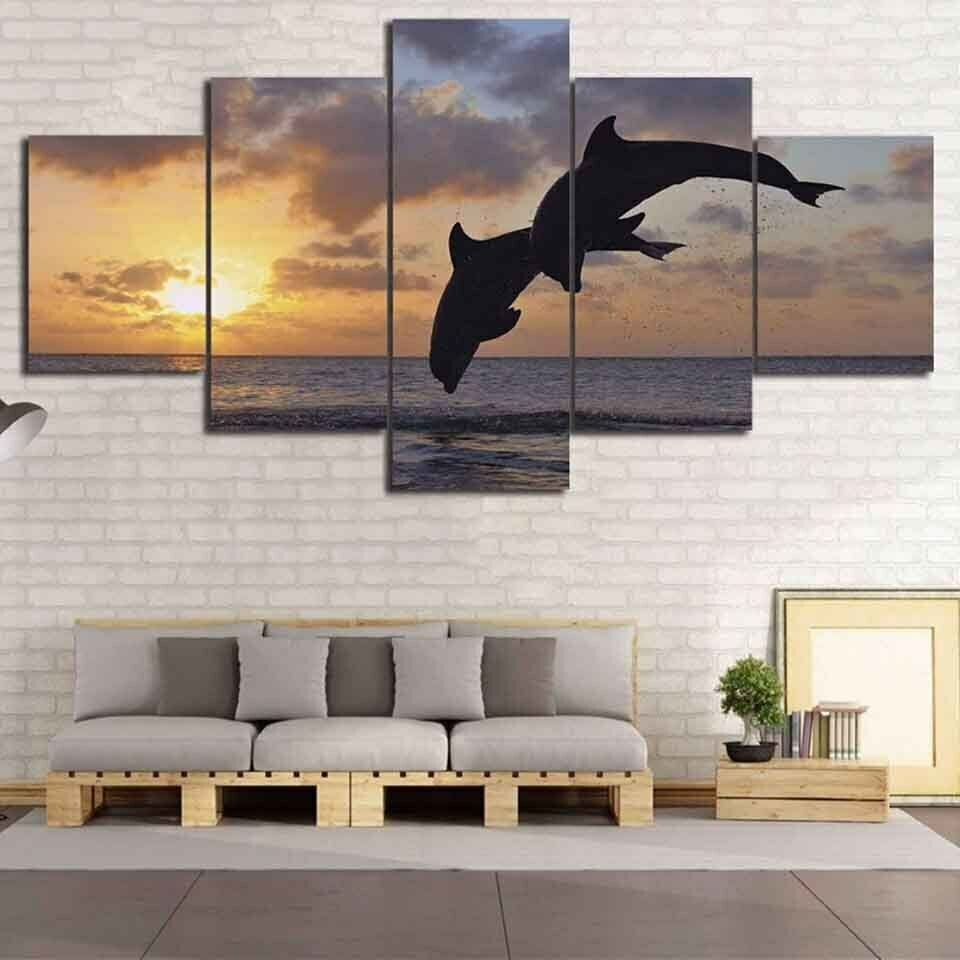 Dolphin Jumping in the Ocean 5 Pcs Canvas Wall Room Home Decorating Poster