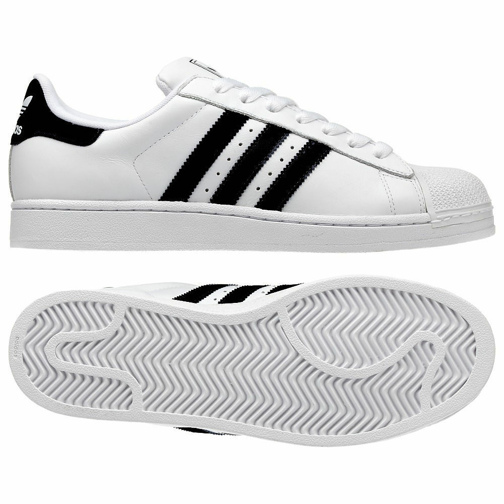 ADIDAS hommes SUPERSTAR 2 TRAINERSSIZES 7 - 12UK NEW BNIB LEATHER blanc noir