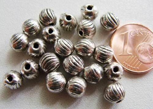20 perles rondes striées métal argenté 5mm MA02 DIY Bijoux Déco