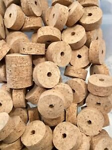 "Cork Rings 12  Natural Superior Burl 1 1//4/"" X 1//2/"" X 1//4/"" Hole"