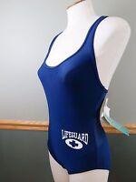 Speedo Vintage Moderate Lifeguard Baywatch Swimming Suit Blue Women's 8