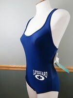 Speedo Vintage Moderate Lifeguard Baywatch Swimming Suit Blue Women's 8