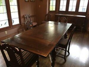 Details About Jacobean Style Dining Room Set Table 6 Reupholstered Chairs Buffet