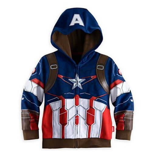 Hoodies Superhero Iron Man Captain America Sweatshirt Boys KIDS Spiderman Jacket