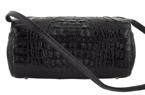 Genuine Crocodile Hornback Barrel Purse Handbag Shoulder Strap Black White Brown
