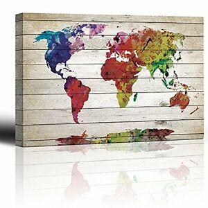 Framed Rustic Wood Colorful World Map Canvas Prints Picture Wall - Colorful world map