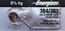ENERGIZER 364/363 SR621W SR621SW BATTERIES Sealed Authorized Seller