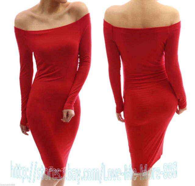 Womens BASIC SOLID Long Sleeve Casual PARTY Cotton Long Midi Dress BODYCON S-2XL