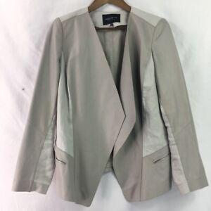 Lafayette-148-New-York-Womens-Open-Front-Suit-Jacket-Beige-Metallic-Leather-M-10