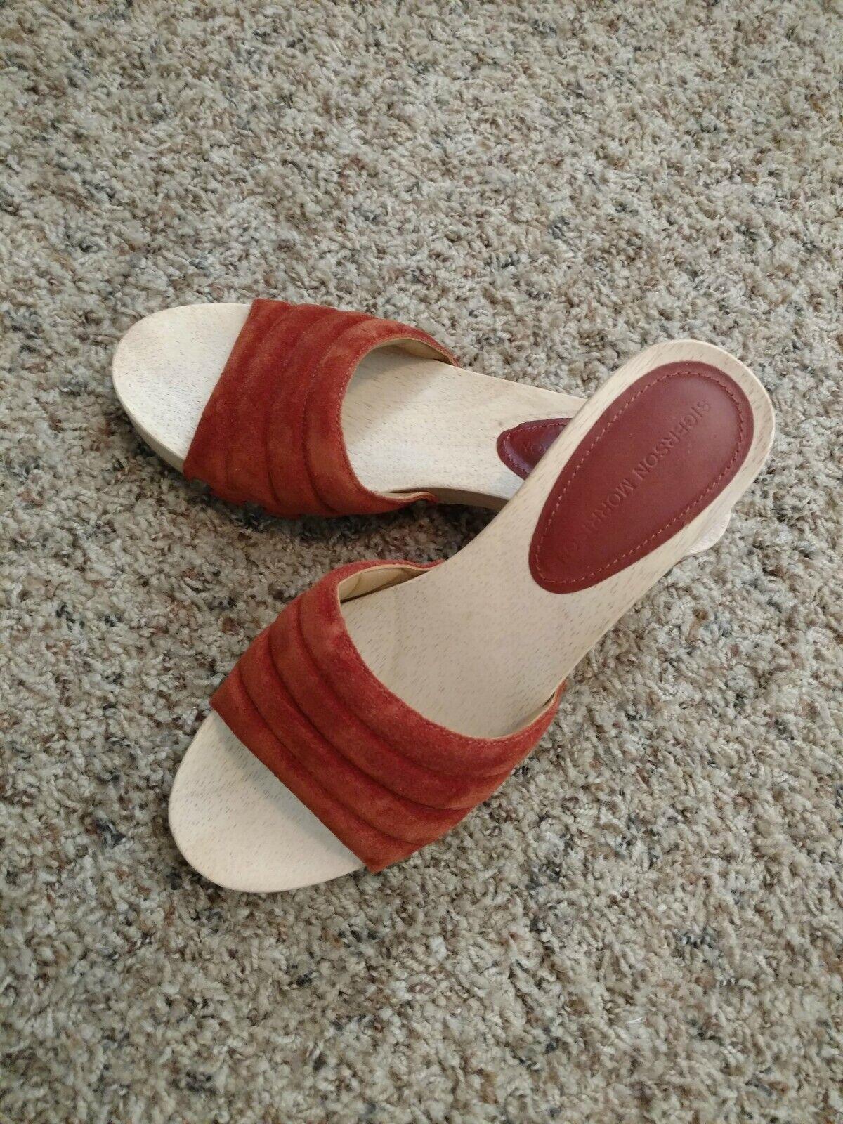 Holz Leder Slide Morrison Sigerson Sandal Paprika NWOB 7