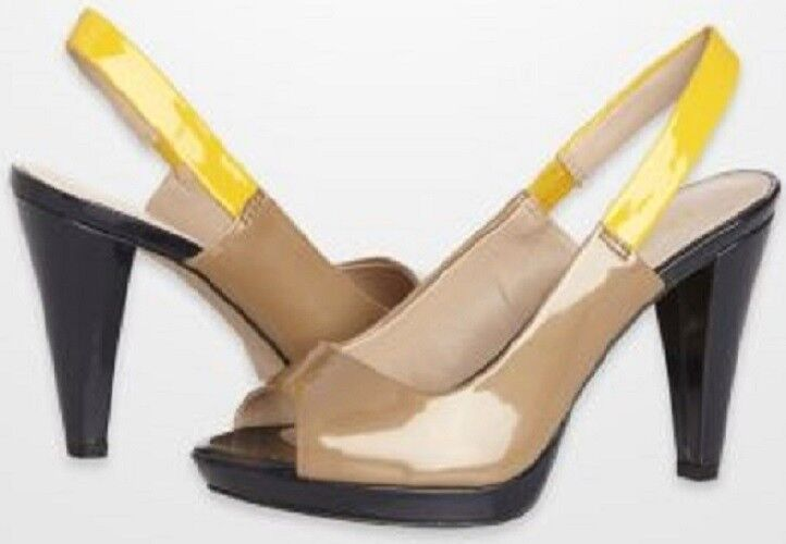 Anne Klein EBONY Tan/Navy/Yellow Farbeblock Patent Peep-Toe Slingbacks -MSRP 90