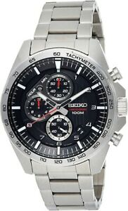 Seiko-Uomo-Cronografo-Scuro-Grigio-Quadrante-Argento-Cinturino-Orologio-SSB319P1