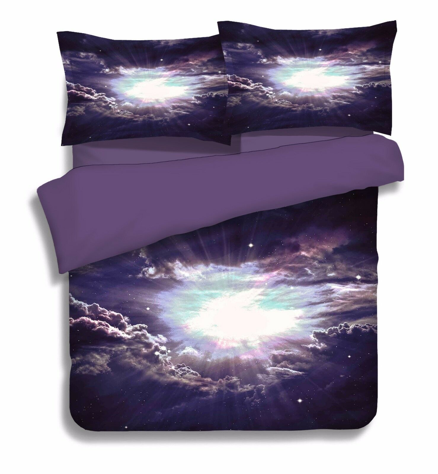3D Wolken Landschaf 7 Bett Kissenbezüge steppen Duvet Decken Set Single DE Carly