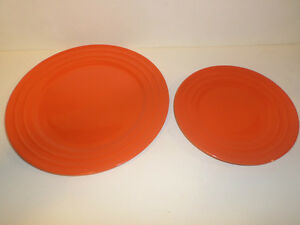Set of 2 Rachel Ray Double Ridge Dinner Plates Orange One 11\