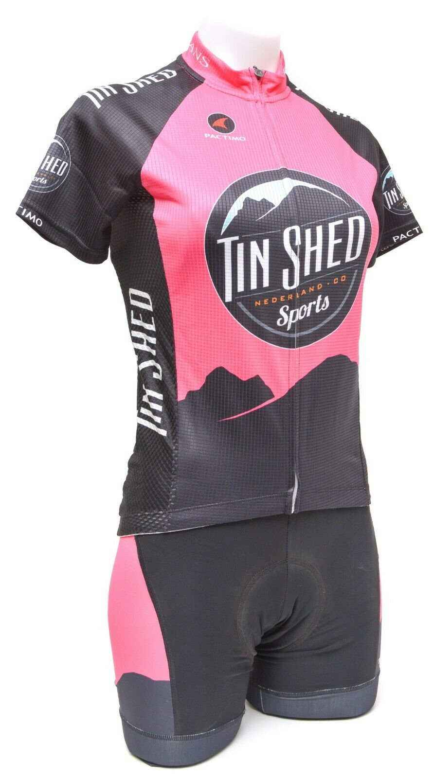 Pactimo Women's Tin Shed Ascent SS Jersey w  Ascent Pro Bib Shorts Pink Bike