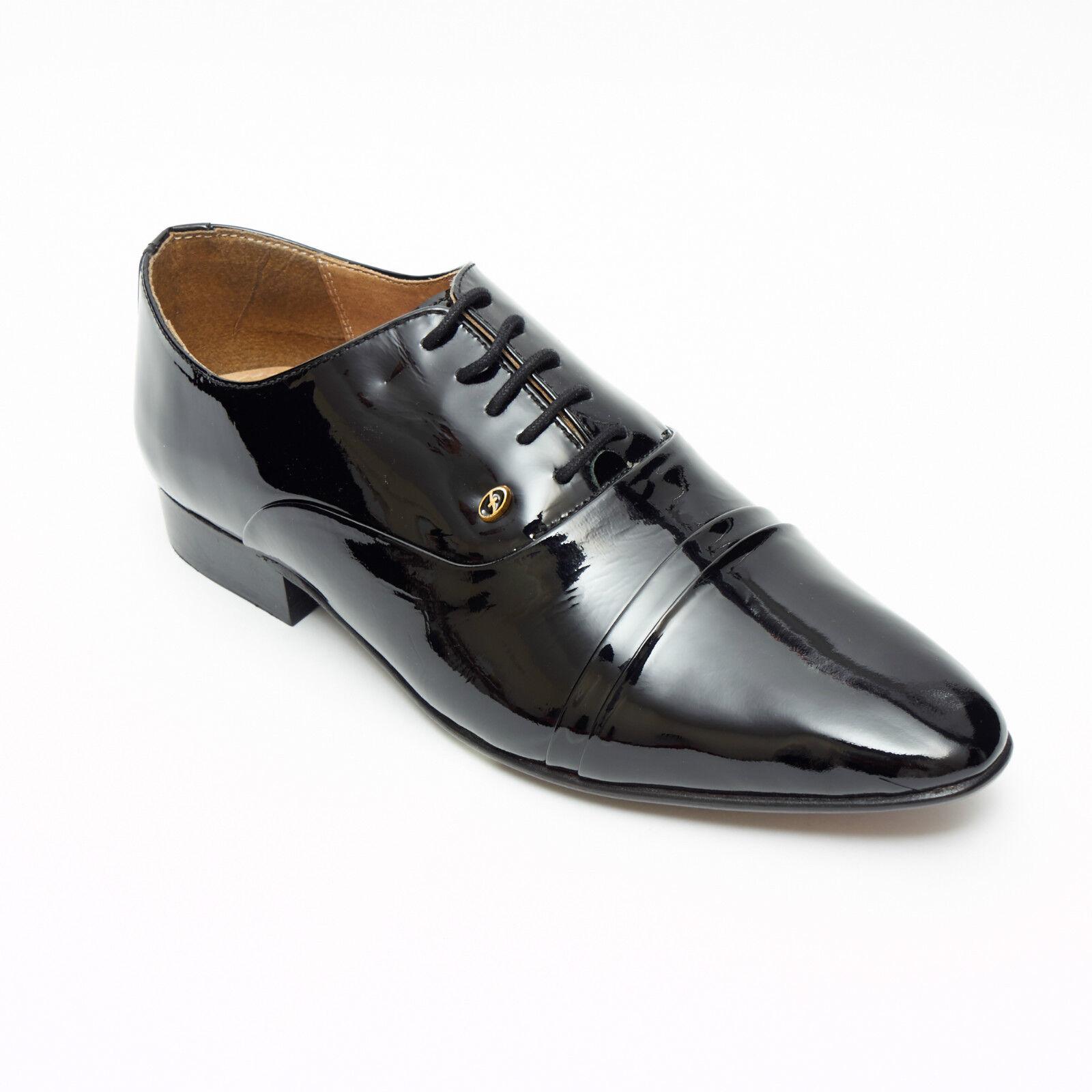 Mens Patent Leather Piegato Cap  Oxford Scarpe nero  acquista online oggi