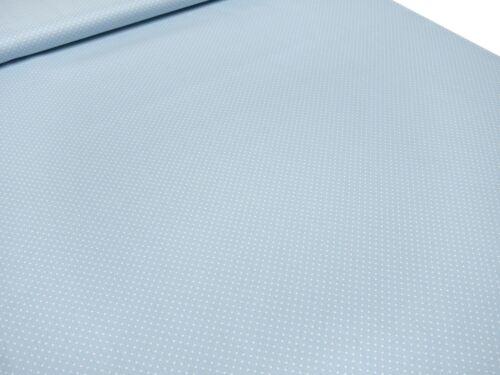 Tejido algodón Popeline 2mm puntos lunares claro azul blanco vestido tela decoración