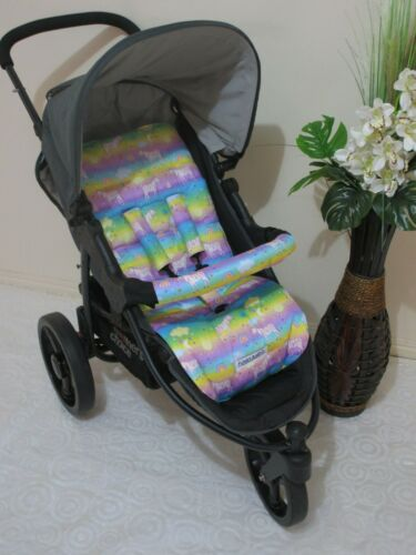 Handmade pram liner set-Rainbow zebras-100/% cotton*Funky babyz