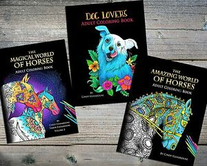 Adult-Coloring-Book-Pack-Set-of-3-Coloring-books-of-Horses-and-Dogs