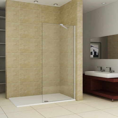 1100x760mm Shower Enclosure Walk In Wet Room Screen Easyclean Glass Panel+Tray Q