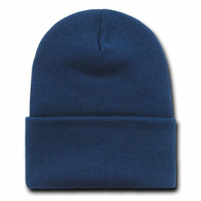e2f667a9304 Navy Blue Knit Beanie Ski Cap Caps Hat Long Cuffed for sale online ...