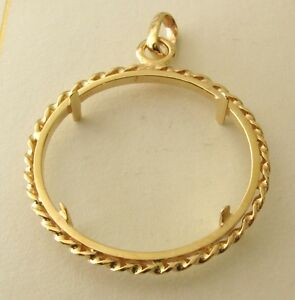 Genuine solid 9k 9ct yellow gold half sovereign coin holder pendant image is loading genuine solid 9k 9ct yellow gold half sovereign aloadofball Gallery