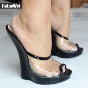 Sexy Womens High Peep Sandal Heel Transparent Wedges 18cm n0PwkO