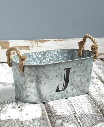 J Galvanized Monogram Storage Bucket Rustic Farmhouse Country Home Décor