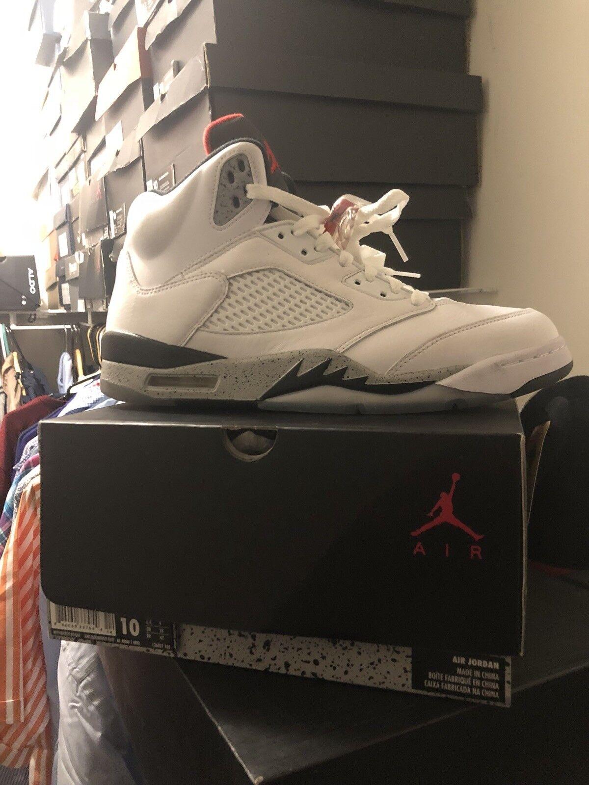 Nike Air Jordan 5 Retro Cement Size 10 White University Red Nero