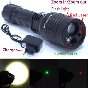 3 in 1 Flashlight Red Green Laser Pointer Light Tactical Hunting Adjustable Flas