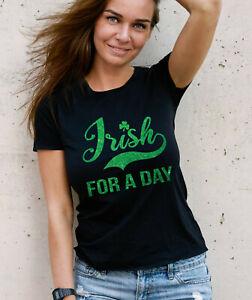 nera giorno Fit verde di T irlandese un con St glitter shirt Patrick's per Tq5pwXx