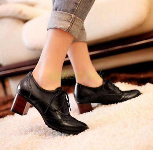 VINTAGE Chaussures à Lacets Chaussures Élégant Femme Oxford Chunky Talons Chaussures Taille