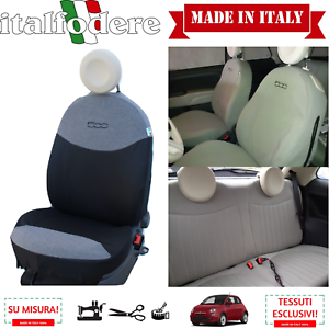 FODERE COPRISEDILI Su Misura FIAT 500 Fodera FODERINE COMPLETE Grigio//Nero