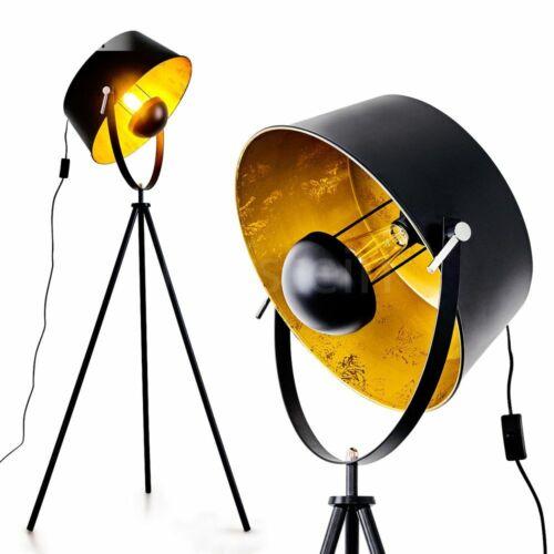 Wohn Schlaf Zimmer Lese Lampe Steh Boden Stand Leuchte verstellbar schwarz-gold