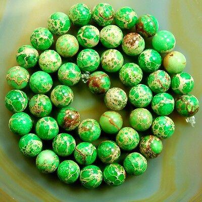8mm Natural Sea Sediment Jasper Gemstone Round Beads 16''