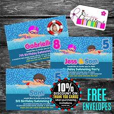 Personalised Birthday Invitations Swimming Pool Party x 5 - Single or joint