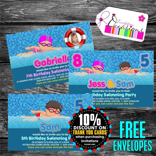 Personalised Birthday Invitations Swimming Pool Party X 5
