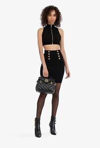 BALMAIN 1095$ High Waist Double-Buttoned Black Knit Skirt