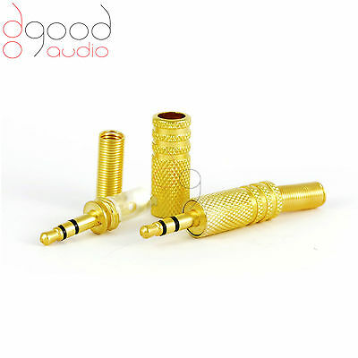2 x Gold Plated 3.5 mm Stereo Jack Plug Metal Body Connector